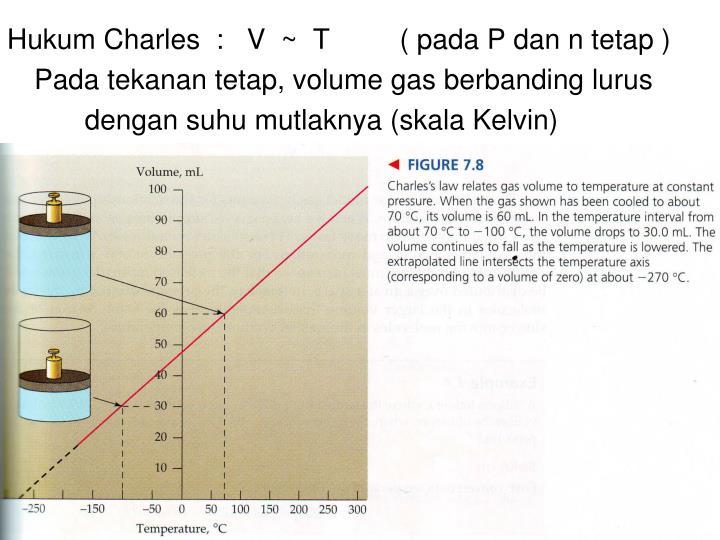 Hukum Charles  :   V  ~  T         ( pada P dan n tetap )