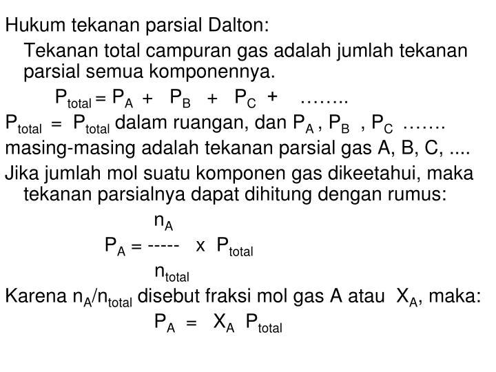 Hukum tekanan parsial Dalton: