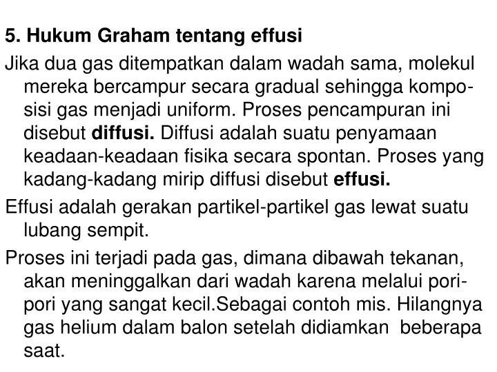 5. Hukum Graham tentang effusi