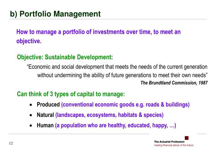 b) Portfolio Management