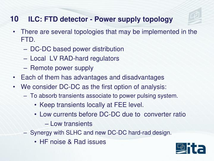 ILC: FTD detector - Power supply topology