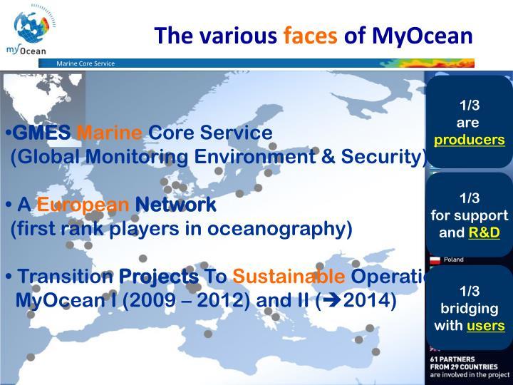 The various faces of myocean