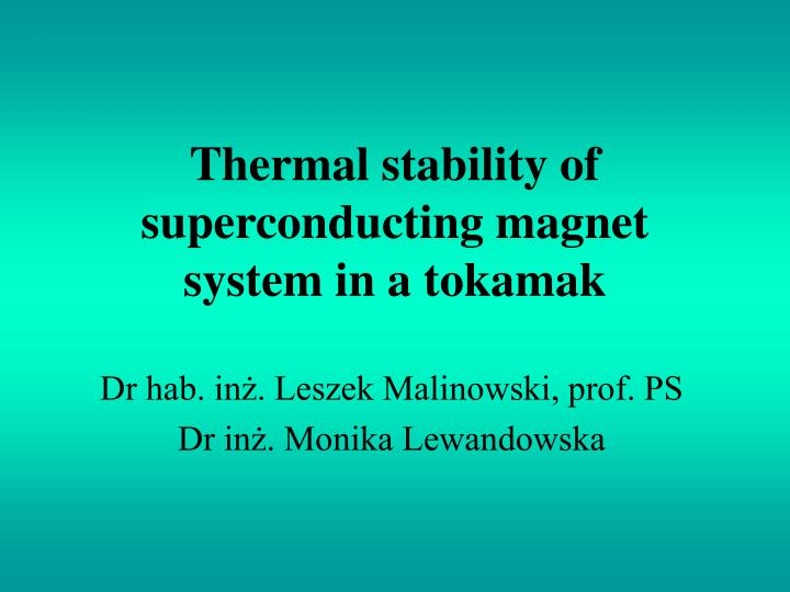 thermal stability of superconducting magnet system in a tokamak n.