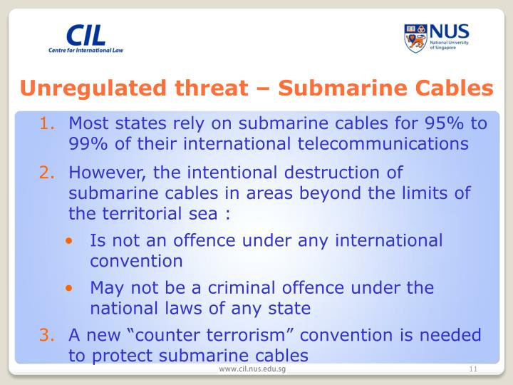 Unregulated threat – Submarine Cables