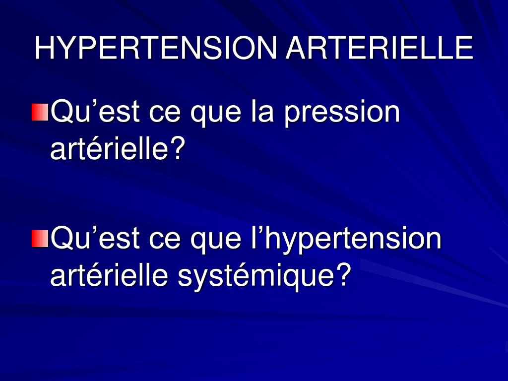 PPT - HYPERTENSION ARTERIELLE PowerPoint Presentation..