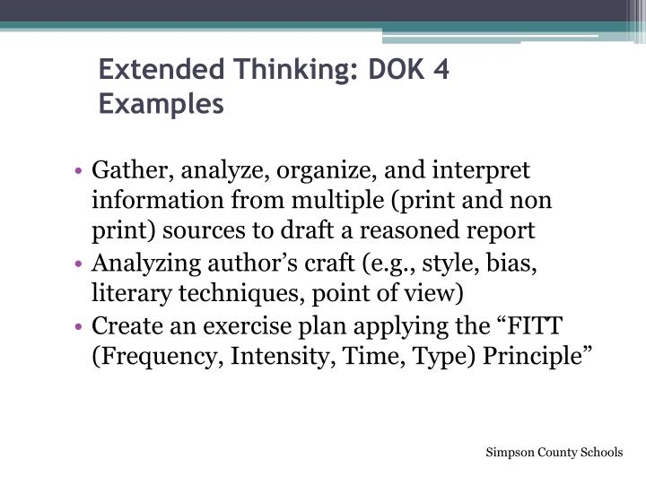 Extended Thinking: DOK 4 Examples