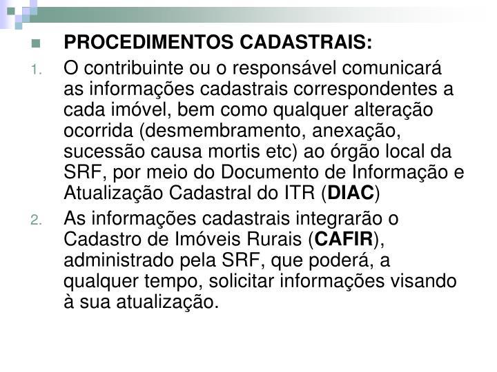 PROCEDIMENTOS CADASTRAIS: