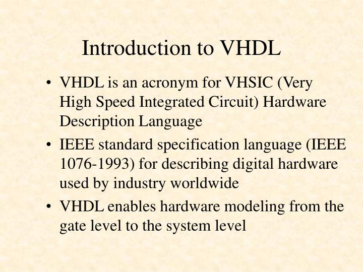 Introduction to VHDL