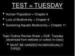 test tuesday