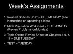 week s assignments