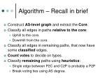 algorithm recall in brief