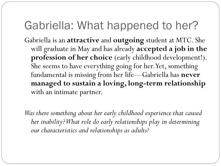 Gabriella: What happened to her?