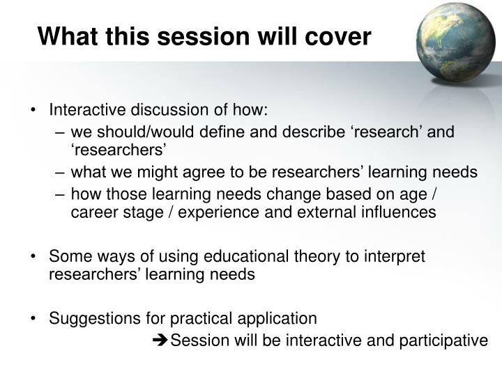 What this session will cover