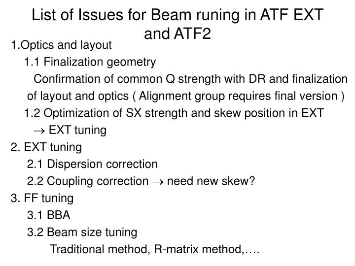 list of issues for beam runing in atf ext and atf2 n.