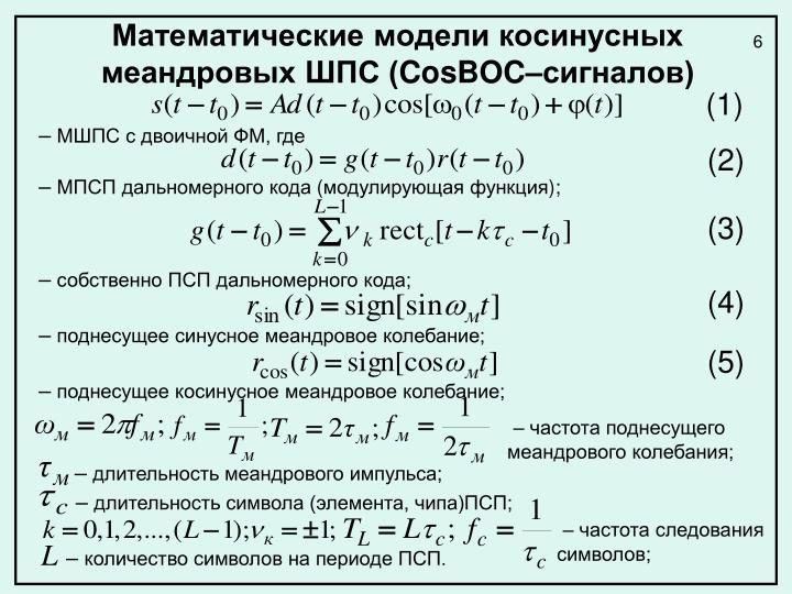 Математические модели косинусных