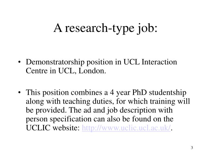 A research type job