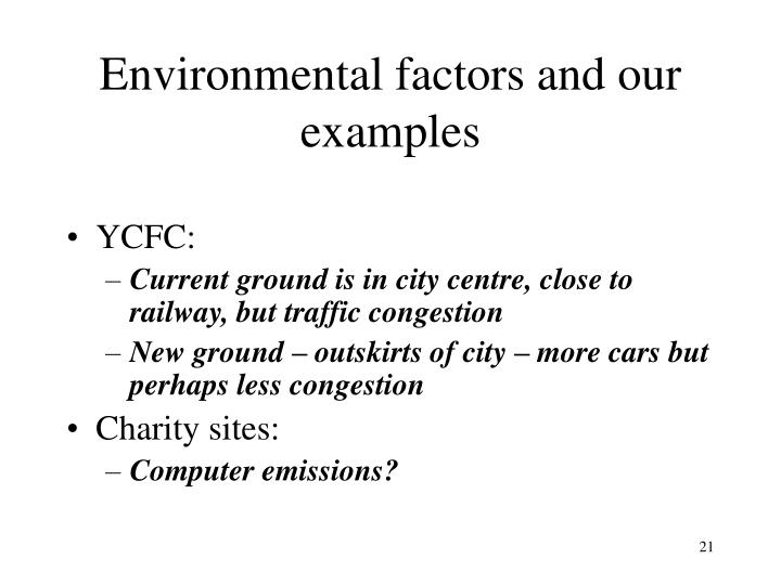 Environmental factors and our examples