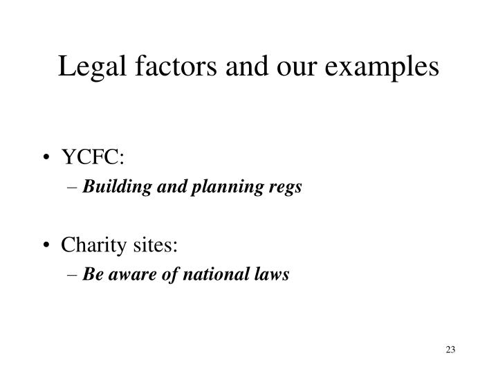 Legal factors and our examples