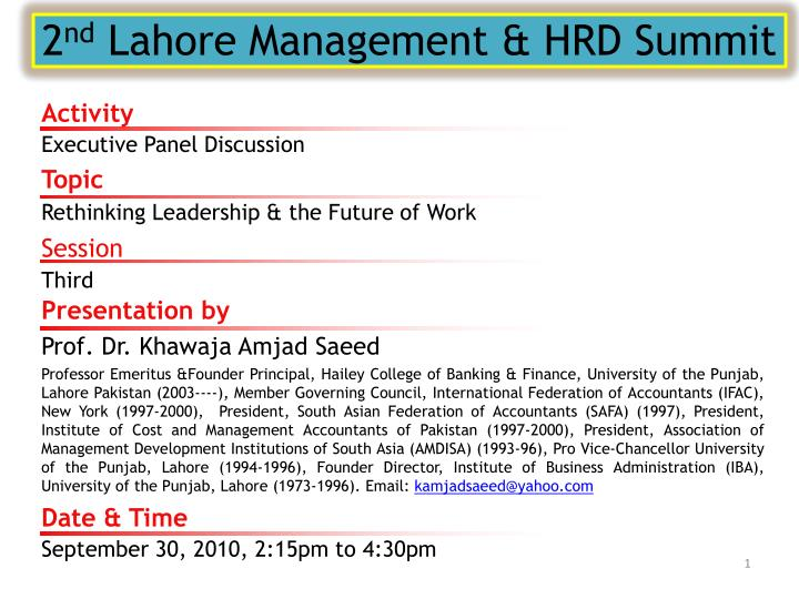 2 nd lahore management hrd summit n.