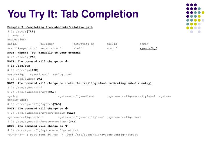 You Try It: Tab Completion