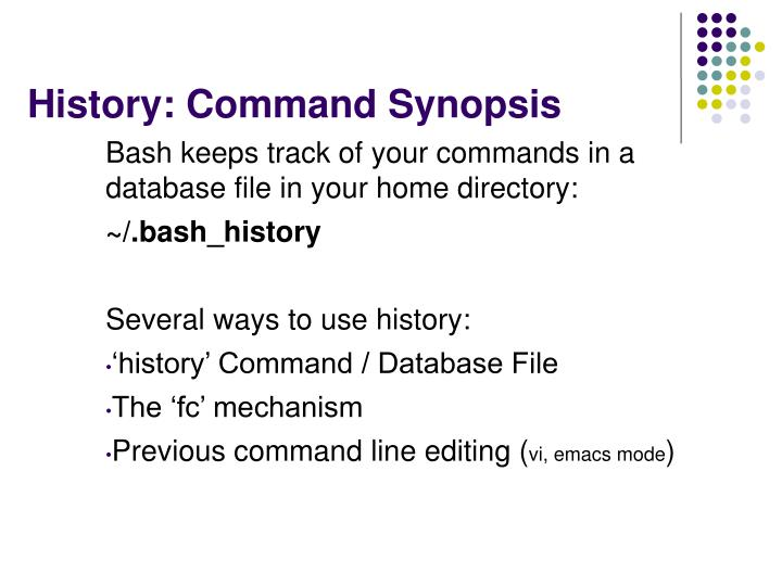 History: Command Synopsis