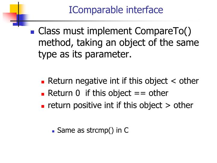 IComparable interface
