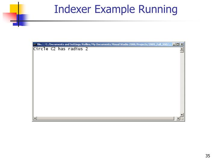 Indexer Example Running