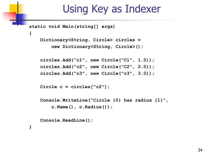 Using Key as Indexer