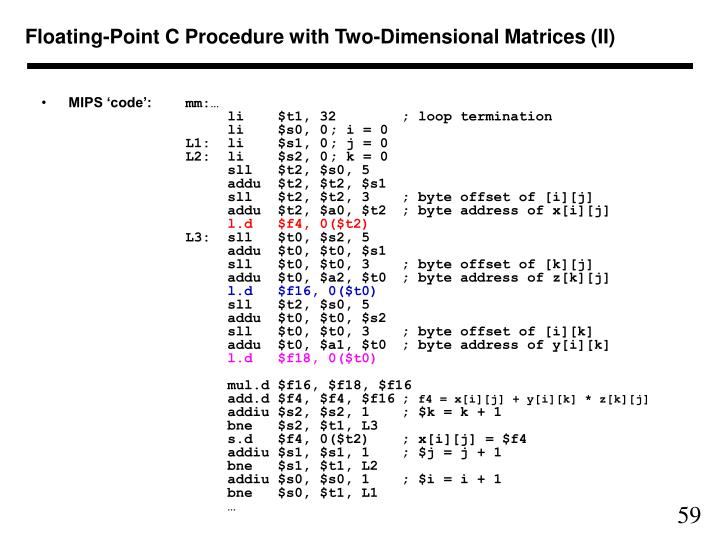 Floating-Point C Procedure with Two-Dimensional Matrices (II)