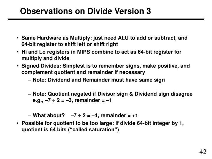 Observations on Divide Version 3