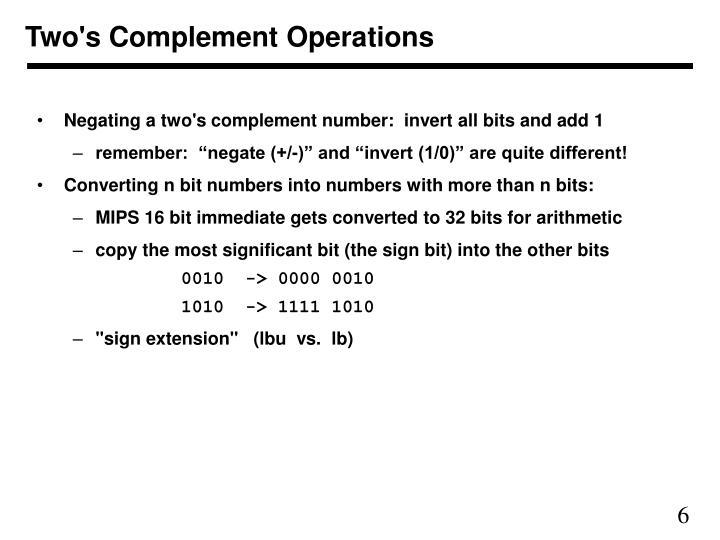 Two's Complement Operations