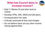 what has council done to increase income