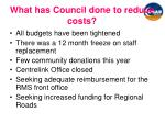 what has council done to reduce costs