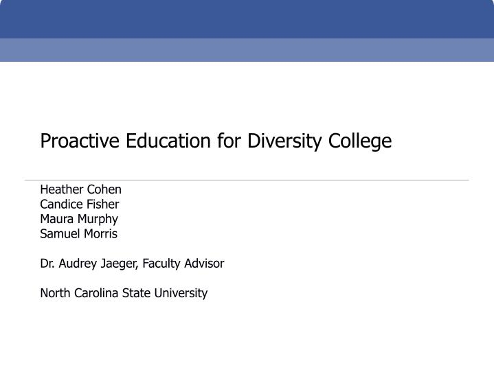 proactive education for diversity college n.