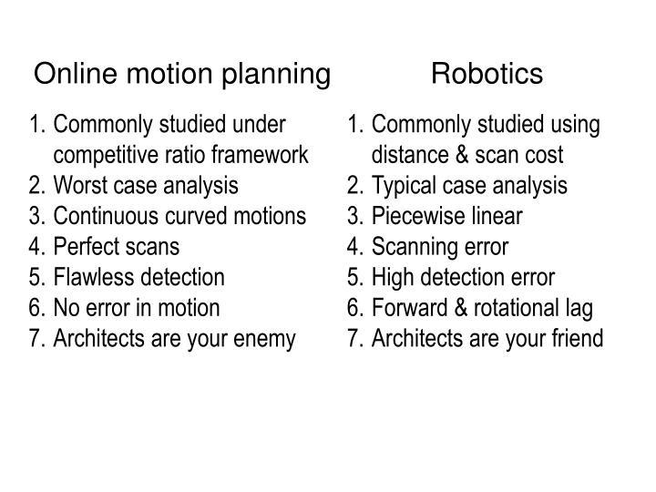 Online motion planning