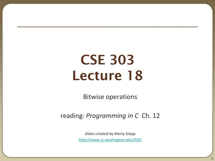 cse 303 lecture 18 n.