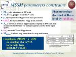mssm parameters constrains