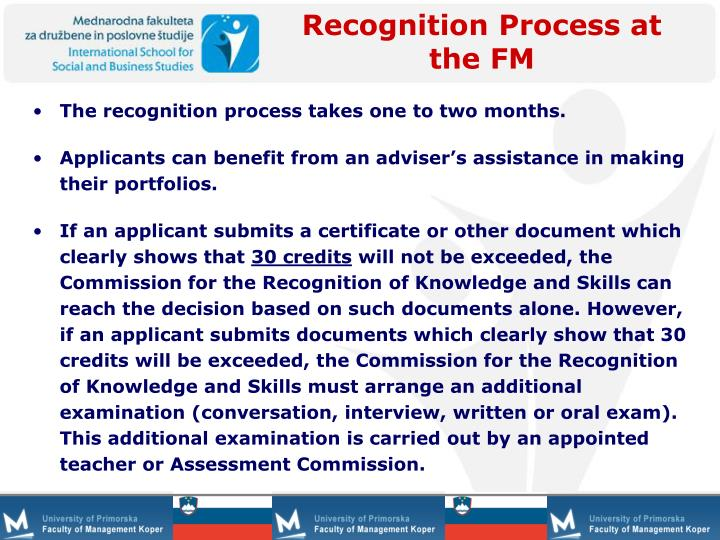 Recognition Process at the FM