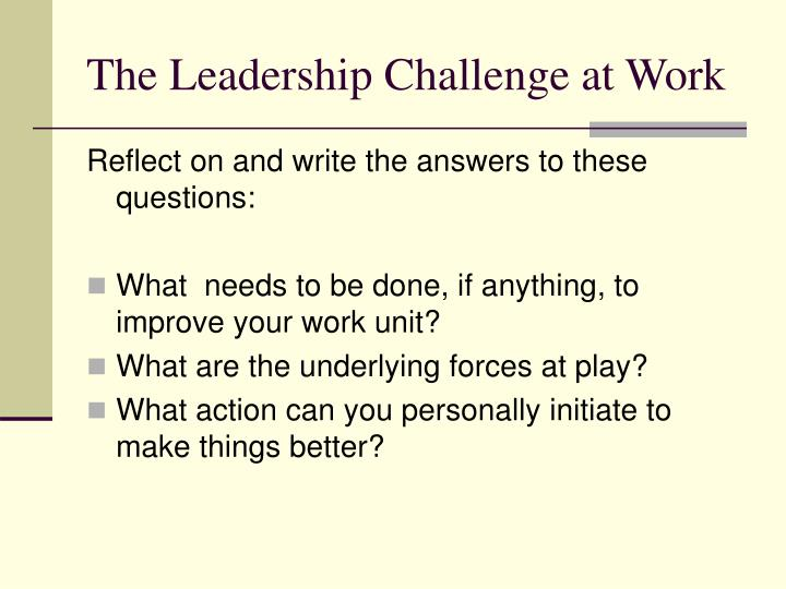 The Leadership Challenge at Work