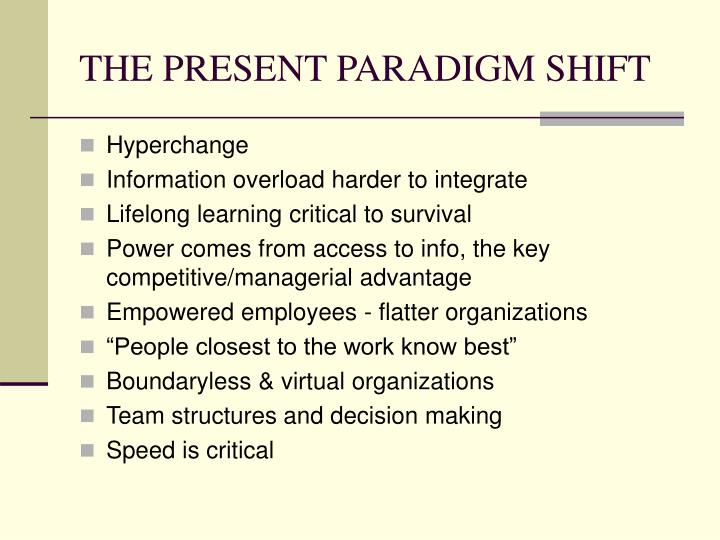 THE PRESENT PARADIGM SHIFT