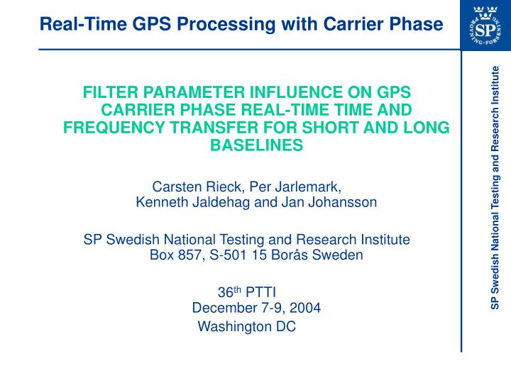 real time gps processing with carrier phase n.