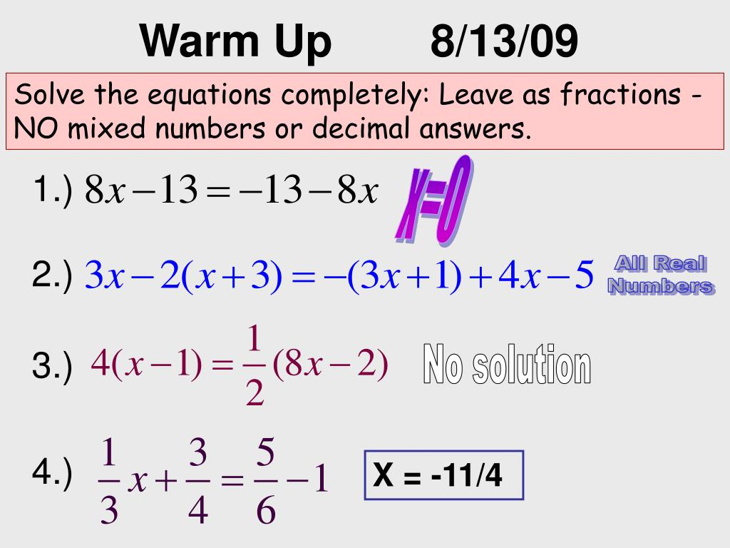 Ppt Solve The Equations Completely Leave As Fractions No Mixed