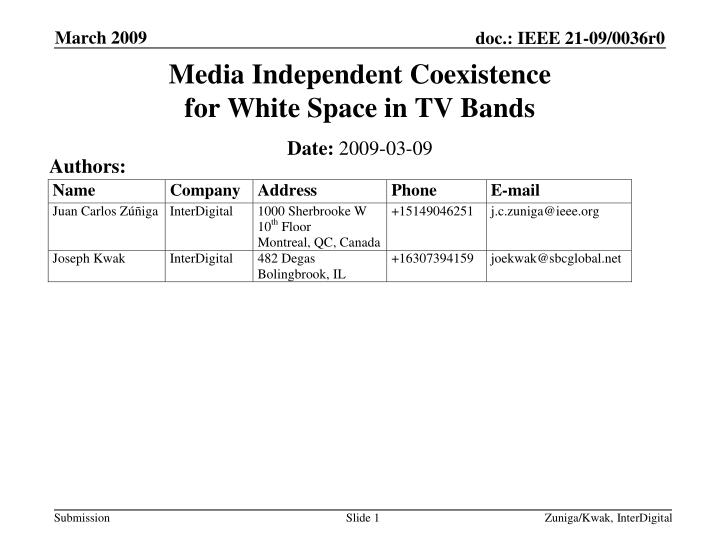 media independent coexistence for white space in tv bands n.