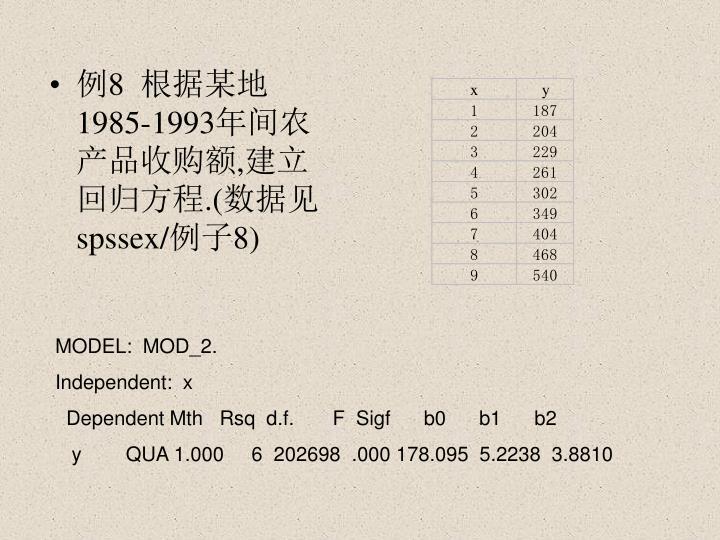 例8  根据某地1985-1993年间农产品收购额,建立回归方程.(数据见