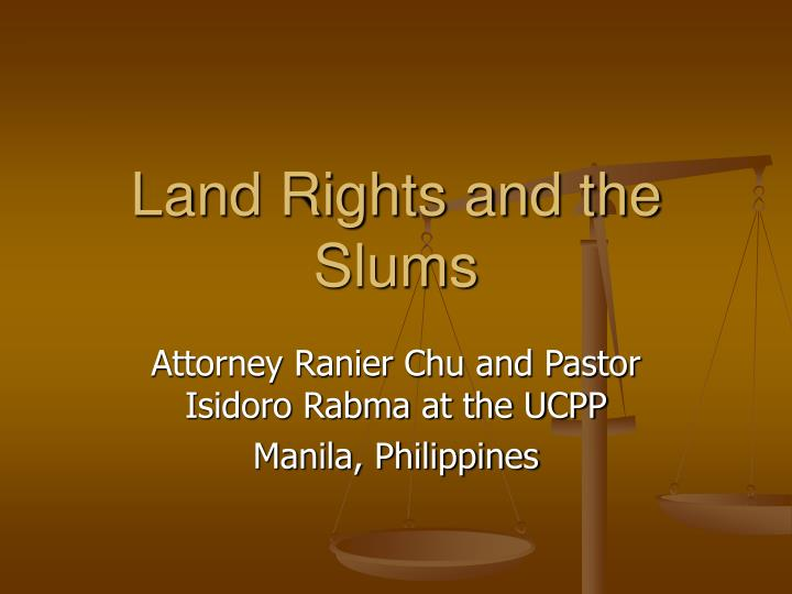 land rights and the slums n.