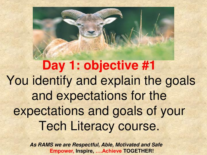 Day 1: objective #1