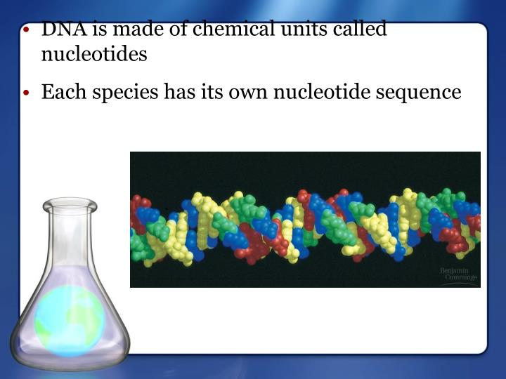 Each species has its own nucleotide sequence
