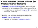 a new handover decision scheme for wireless overlay networks