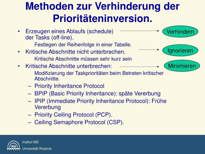 Methoden zur Verhinderung der Prioritäteninversion.