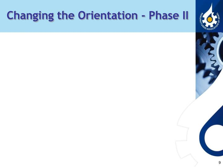 Changing the Orientation - Phase II